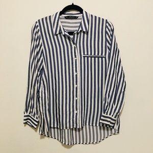 Zara Blue & White Striped Long Sleeve Shirt